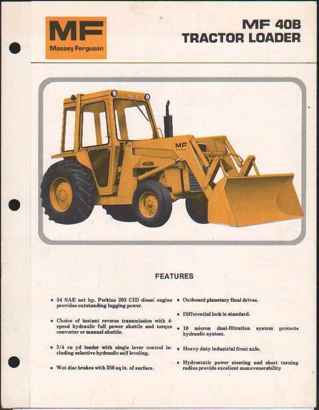 Massey Ferguson Mf 40b Industrial Tractor Loader Brochure Leaflet 5 00 Picclick Uk Tractor Loader Tractors Massey Ferguson