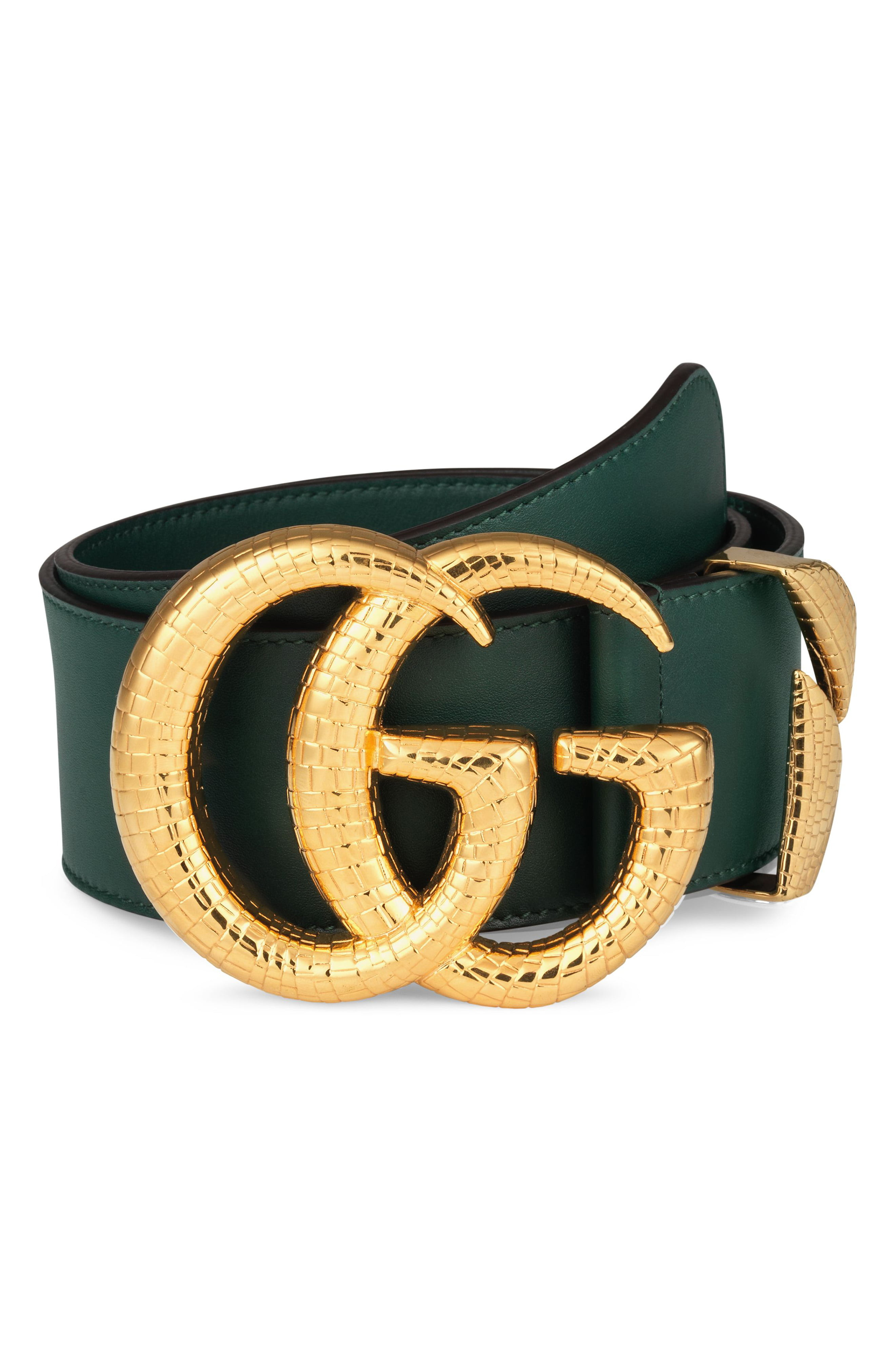 0a261e201 Women's Gucci Gg Marmont Lizard Buckle Leather Belt, Size 85 - Vintage Green