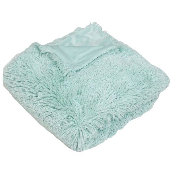 Turquoise Chubby Faux Fur Throw Blanket (€31) ❤ liked on Polyvore ... d1de617d8