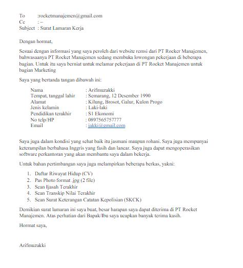 Contoh Surat Lamaran Kerja Via Email Bagian Marketing Contoh Surat Lamaran Kerja Via Email Http Marketing Pendidikan Dasar Riwayat Hidup