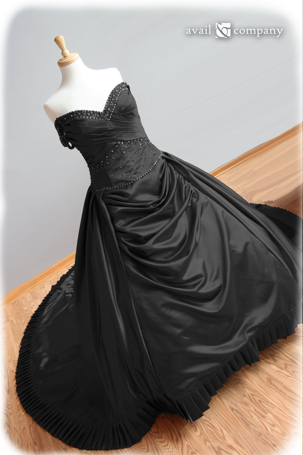 black wedding dress Black Wedding Dress Gothic Wedding Dress Ball Gown Style with Pleats and Crystal Beading Custom Made in your size