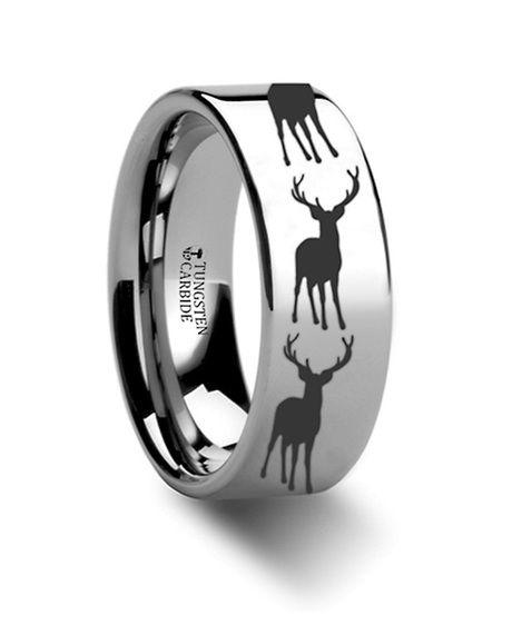Stag Fawn Deer Elk Engraved Flat Tungsten Ring 4mm - 12mm