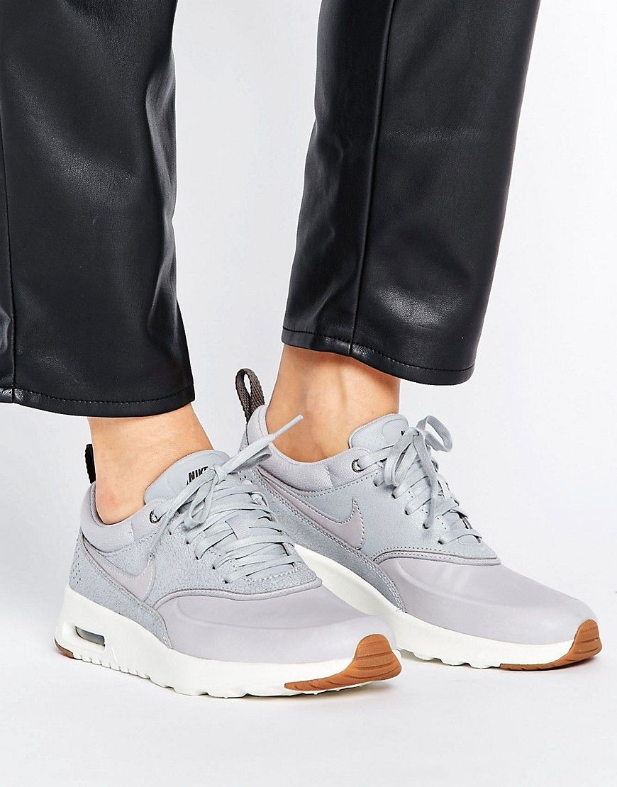Nike Air Max Thea Basket Weave Trainers In Grey Grey