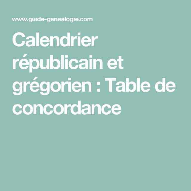 Calendrier Gregorien Et Republicain.Calendrier Republicain Et Gregorien Table De Concordance
