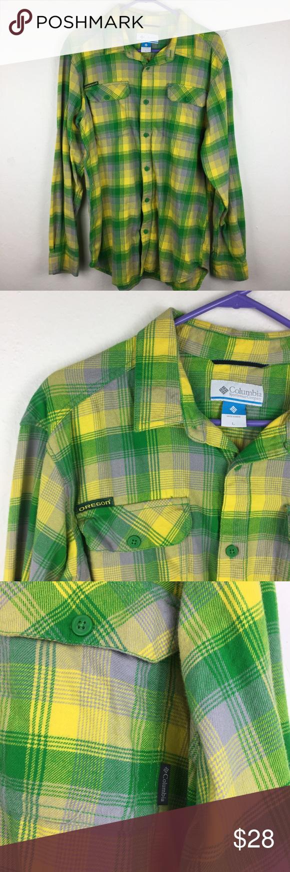 Flannel shirts yellow  Menus L Columbia UO Oregon State Flannel Shirt  Columbia shirt