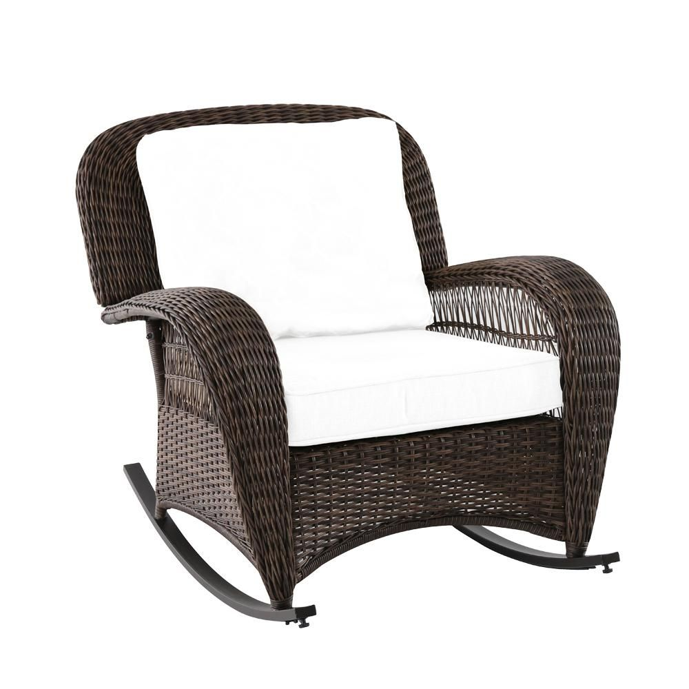 hampton bay beacon park wicker outdoor rocking chair with toffee