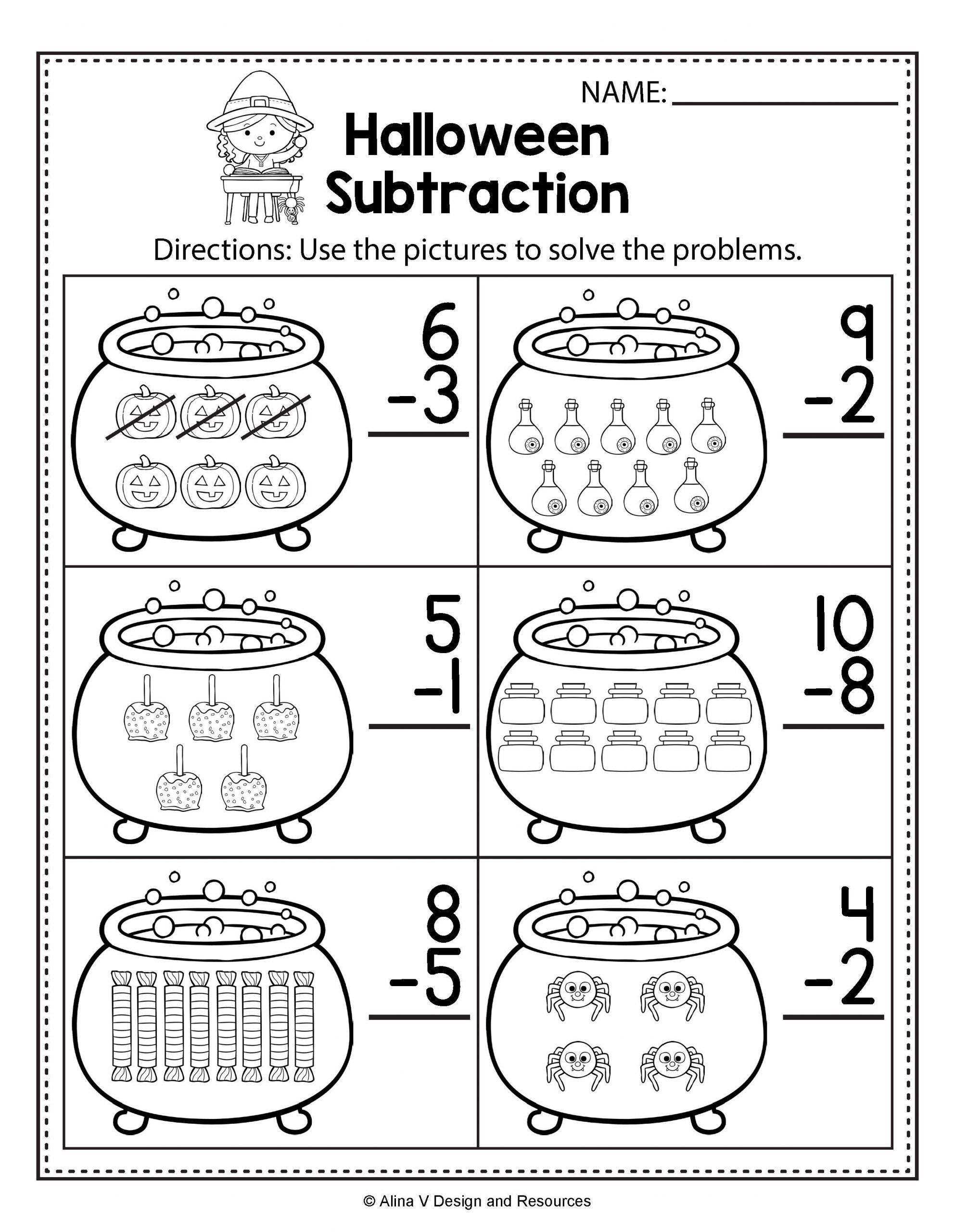 small resolution of Halloween Worksheets for First Grade Halloween Math \u0026 Literacy Activities  for K…   Halloween math worksheets