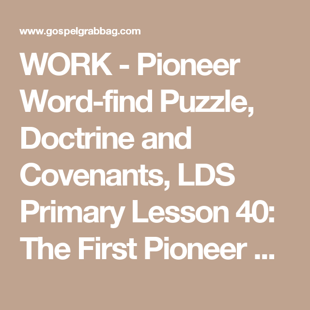 Pioneer Word-find Puzzle, Doctrine And Covenants