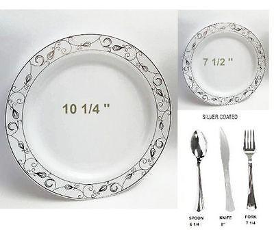 Bulk Dinner Wedding Disposable Plastic Plates Silverware Party Silver Rim design  sc 1 st  Pinterest & Bulk Dinner Wedding Disposable Plastic Plates Silverware Party ...