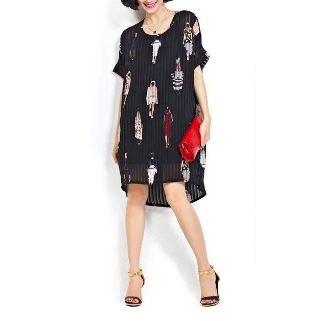 Etuikleider - Chiffon- gefaltetes Blumensommerkleid - ein Designerstück von DIYtime bei DaWanda