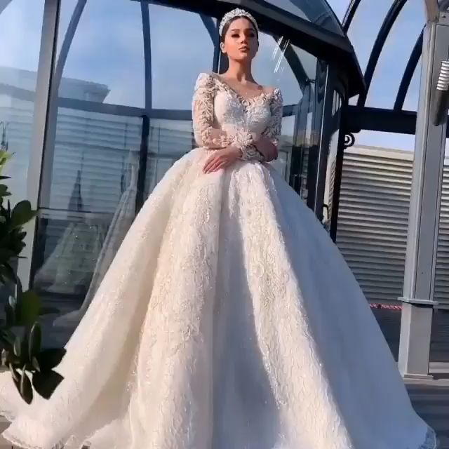 Luxus Wedding Dresses Ball Gown Wedding Gowns Lace Long Sleeve