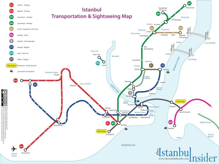 Istanbul transport and sightseeing map Maps Pinterest City