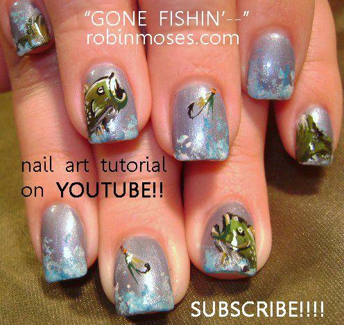 Robin Moses Nail Art Gone Fishin Fishing Nail Art Tutorial Design