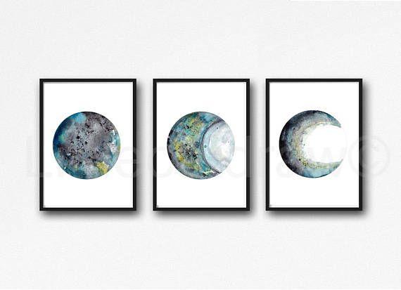 Noir Gris Turquoise Impression Ensemble De 3 Aquarelle Imprime En