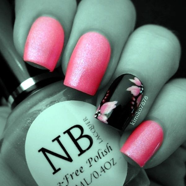 45 Cute Pink And Black Nails Designs