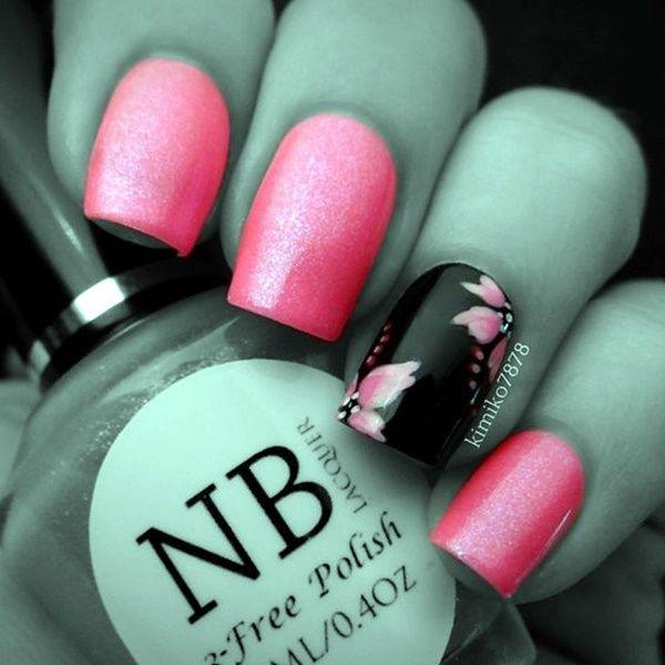 45 Cute Pink And Black Nails Designs Black Nails Pink Black Nails