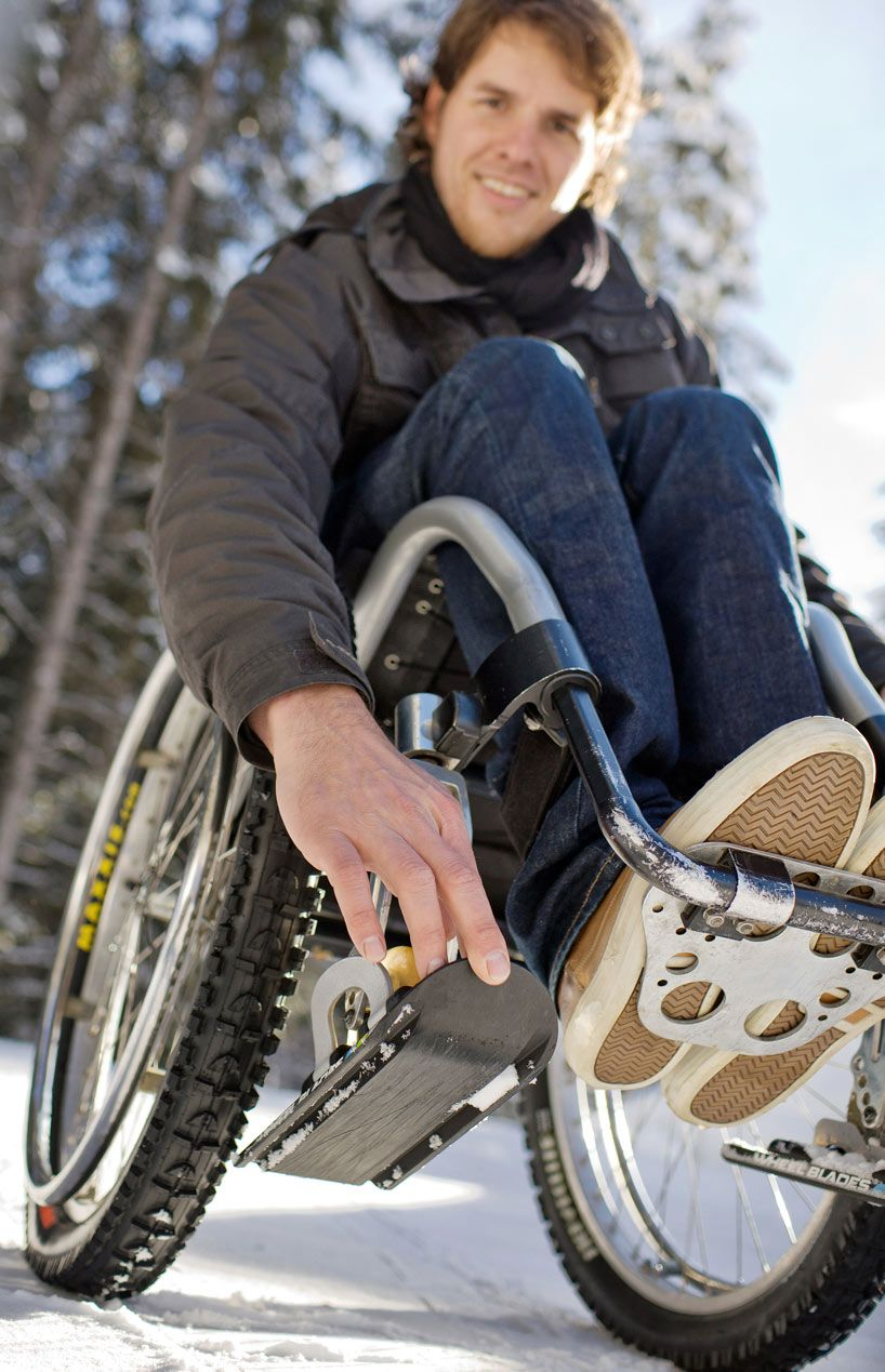 patrick mayer: wheelblades? Allows wheelchairs and strollers to move easier on snow and ice.