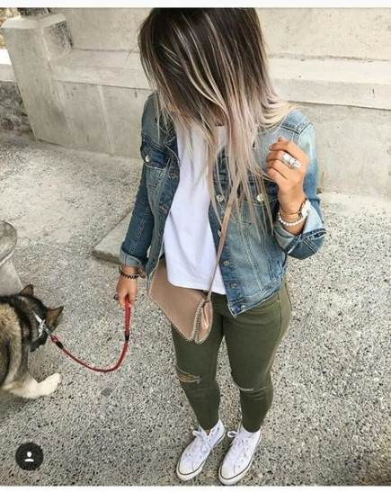 Super Fashion Street Style Chic Pants Ideas #jeanjacketoutfits