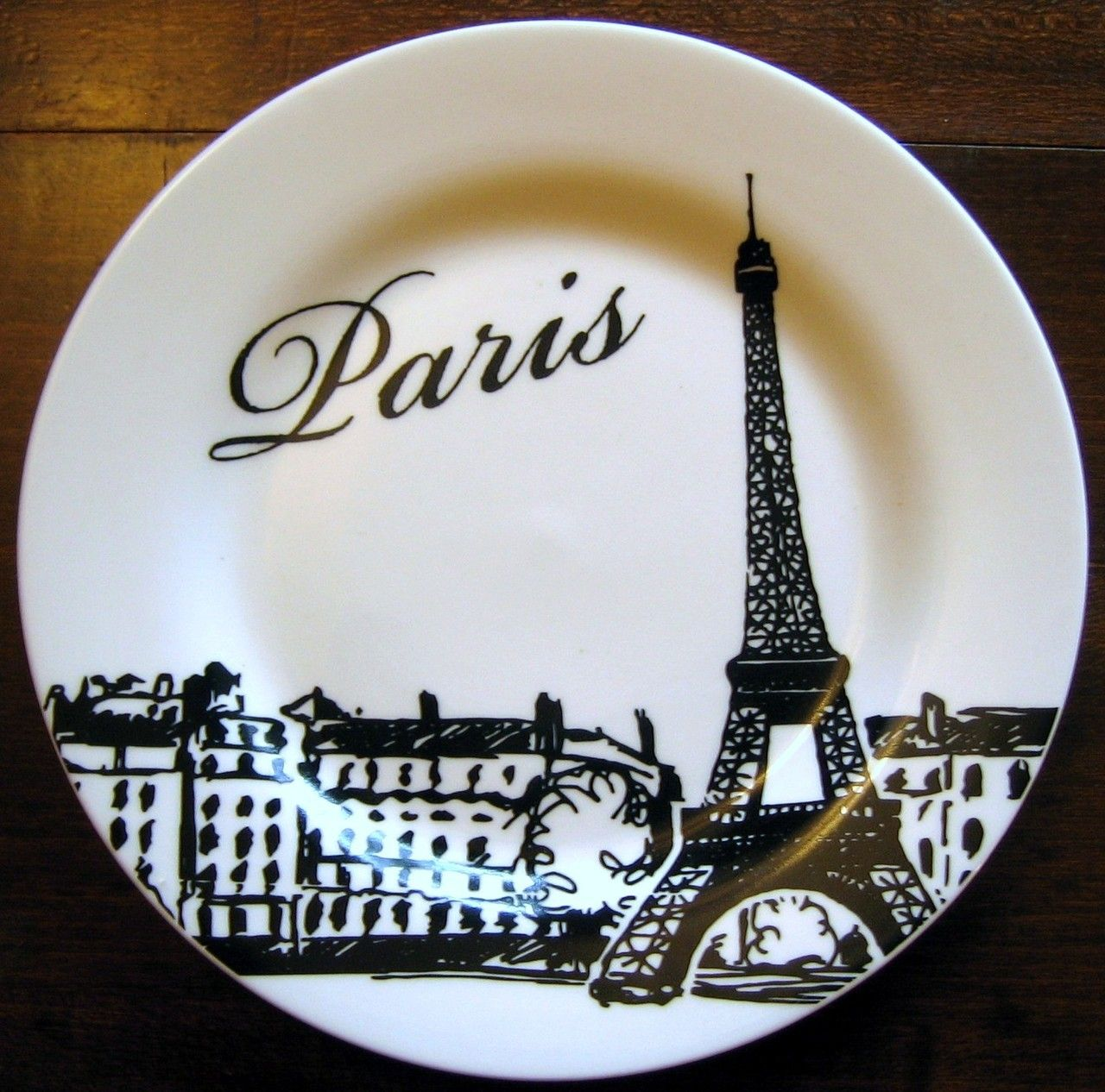 Decorative Dishes - Bold Black on White Eiffel Tower Paris Skyline Plate $19.99 ( & Bold Black on White Eiffel Tower Paris Skyline Plate | Paris ...