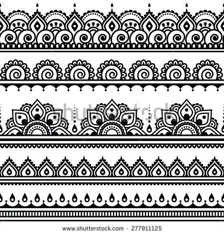 Mehndi, indyjska henna tatuaż bez szwu Wektorowa ilustracja stockowa (bez tantiem) 277911125