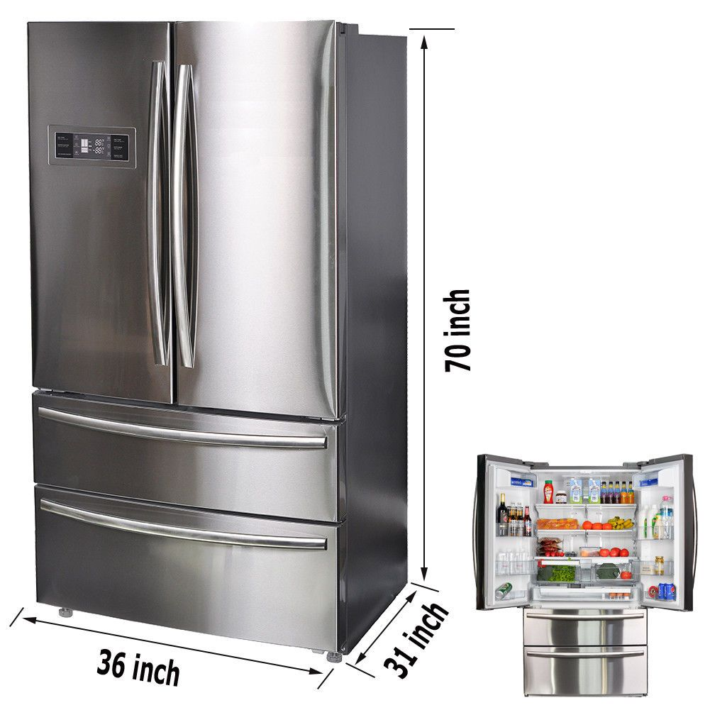 21 Cu Ft French Door Refrigerators Dual Aircool System 2 Drawer