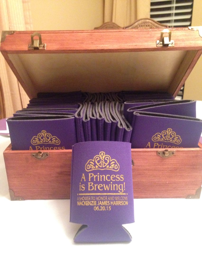 A princess is brewing! Co-Ed Baby shower koozies