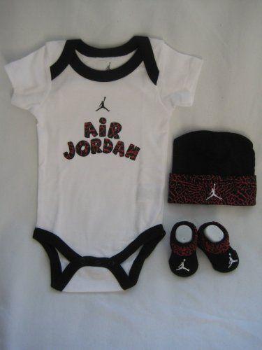 Nike Jordan Infant New Born Baby Boy Girl Shoulder Bodysuit, Booties and  Cap 0-