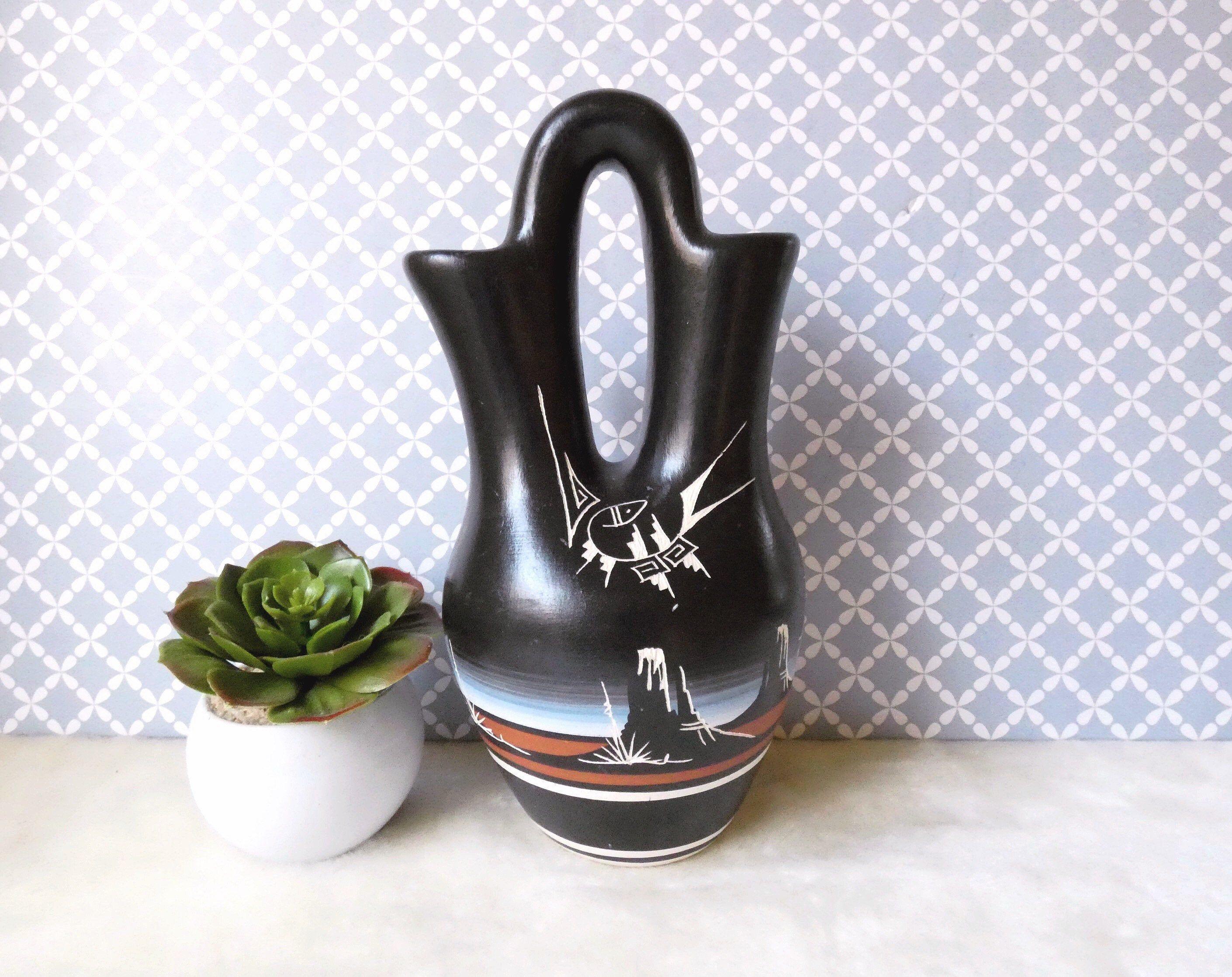 Native American Wedding Vase Pottery, Artist Signed