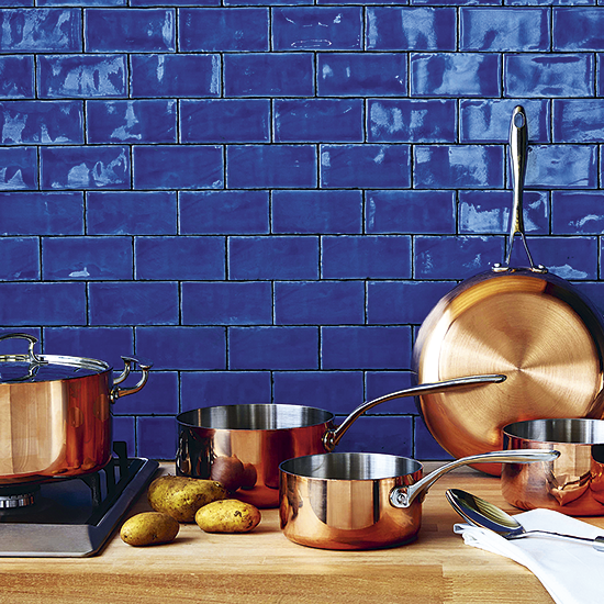 A Great Match: Blue Kitchen Tiles And Copper Saucepans Http://www.