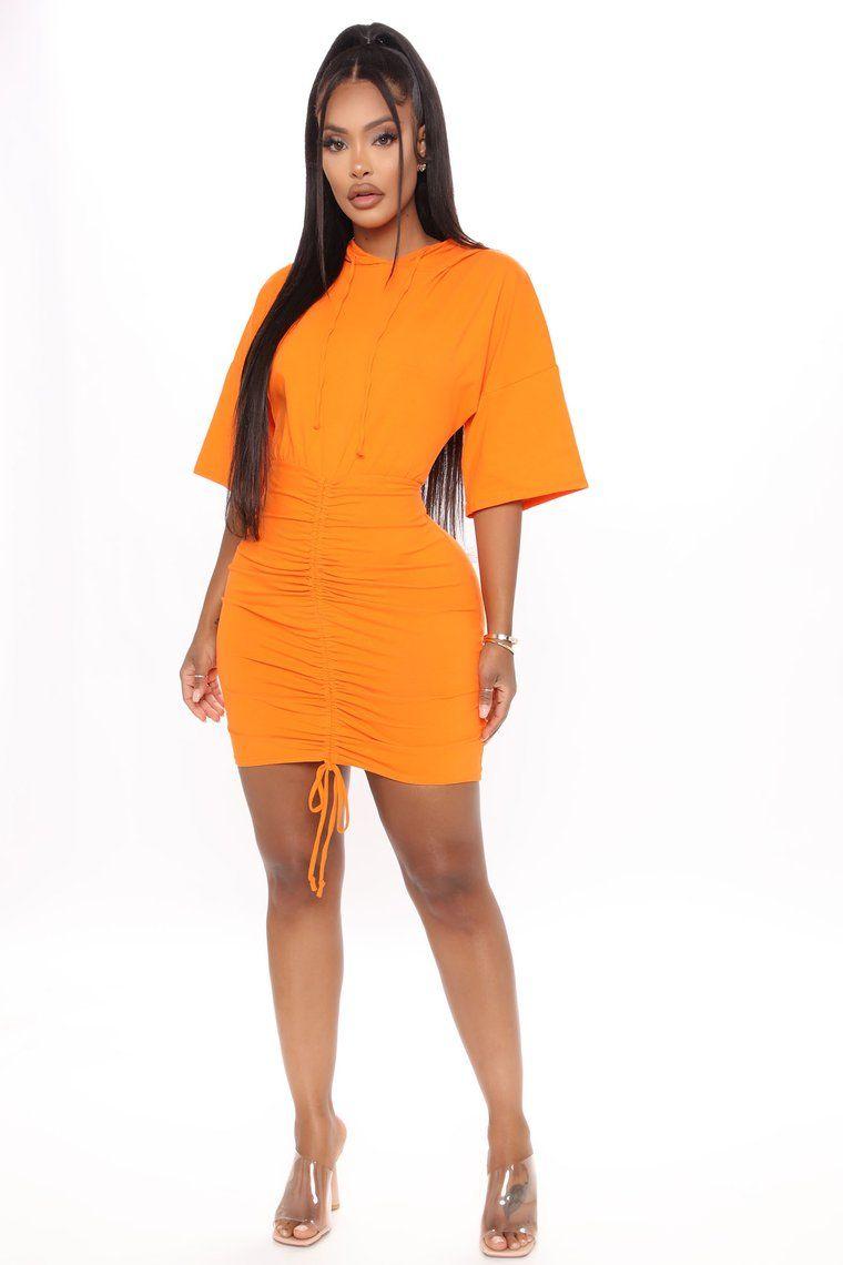 Staying Home Ruched Mini Dress Orange Orange Mini Dress Fashion Nova Outfits Casual Dress Outfits [ 1140 x 760 Pixel ]