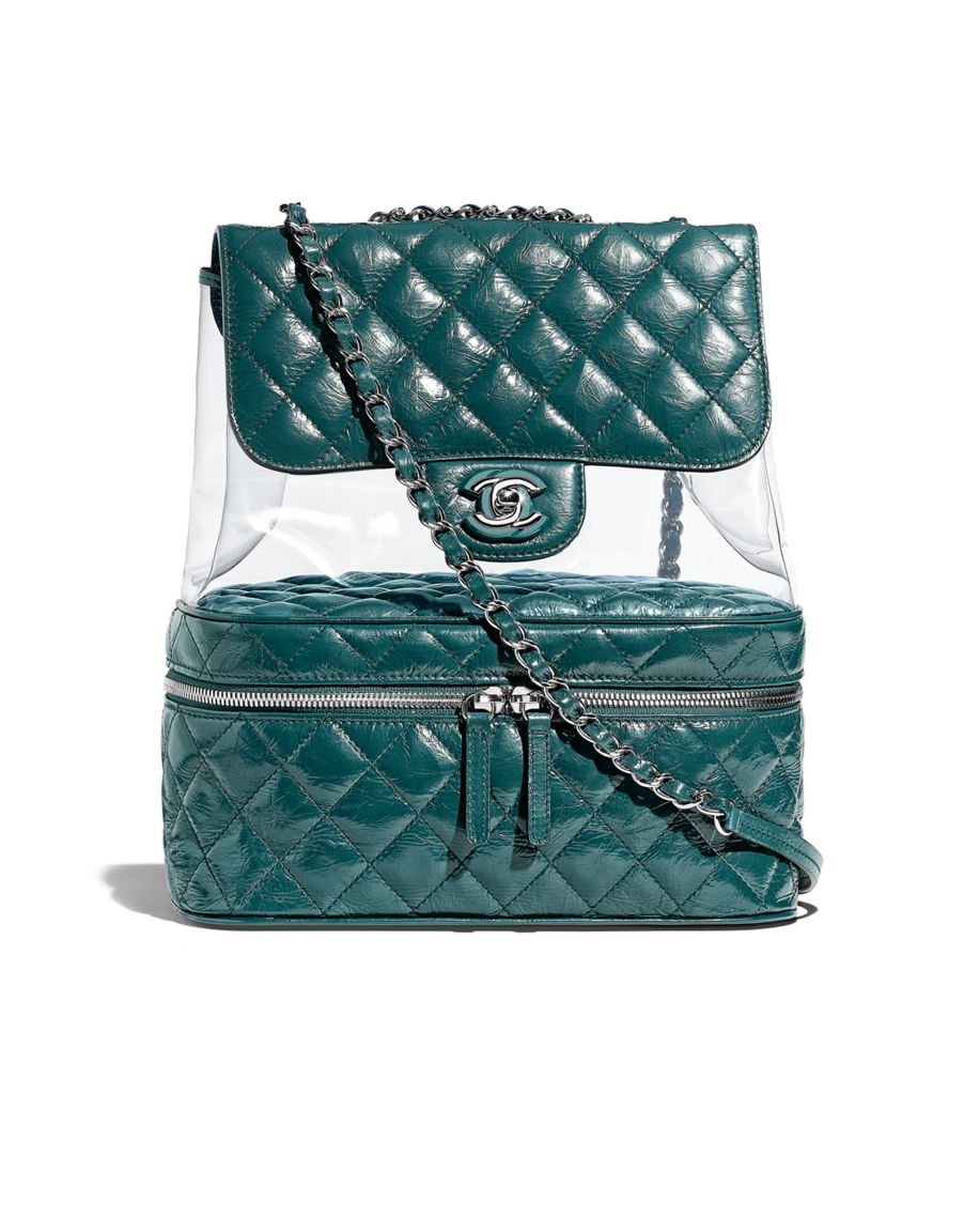 8818dafb4 Flap bag, crumpled calfskin, pvc, resin & silver-tone metal-turquoise -  CHANEL