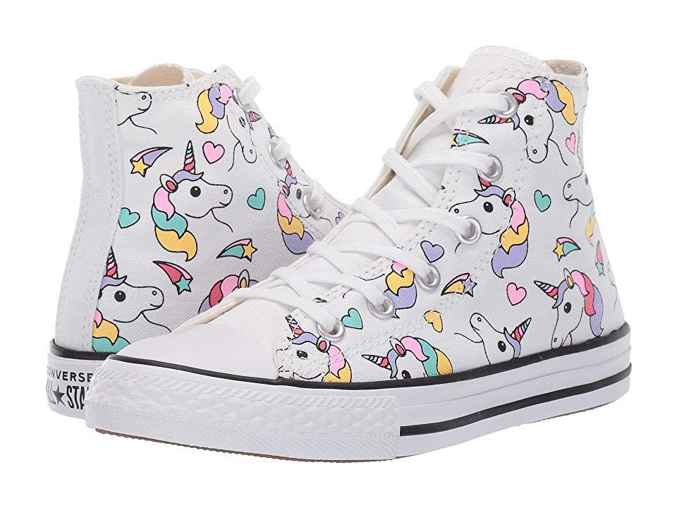 1eb289fc0 Converse Kids Chuck Taylor All Star Hi (Little Kid/Big Kid) Girl's Shoes  White/Black/Strawberry Jam
