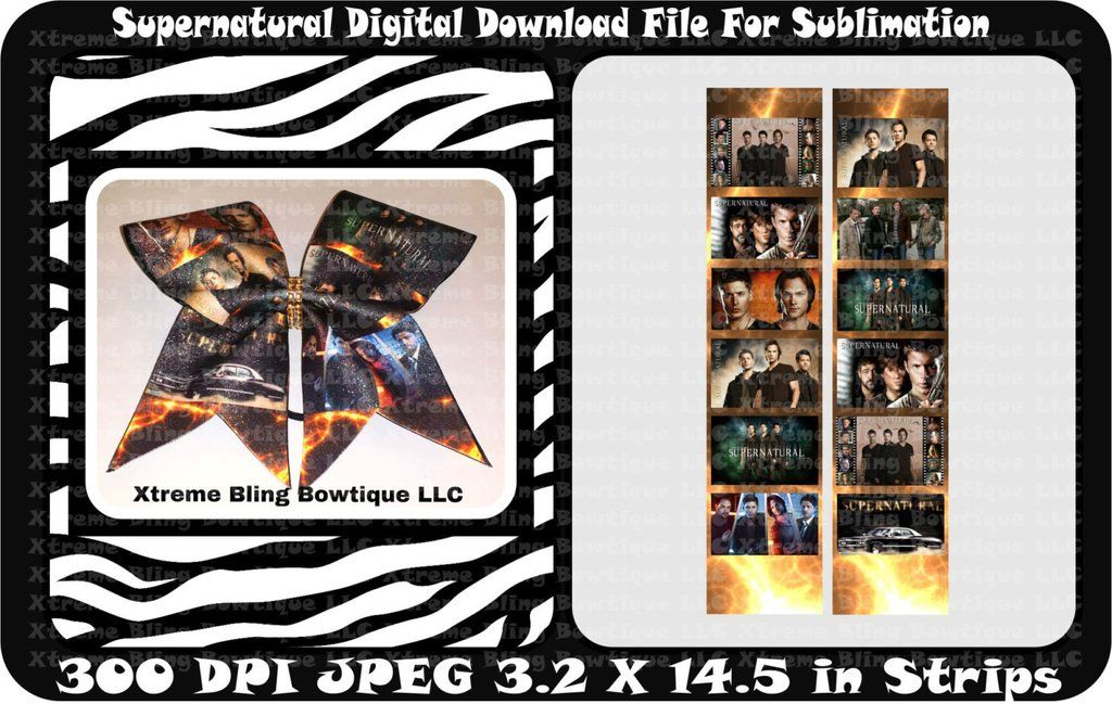 Supernatural Bow Sublimation Cheer Bow Strips Download