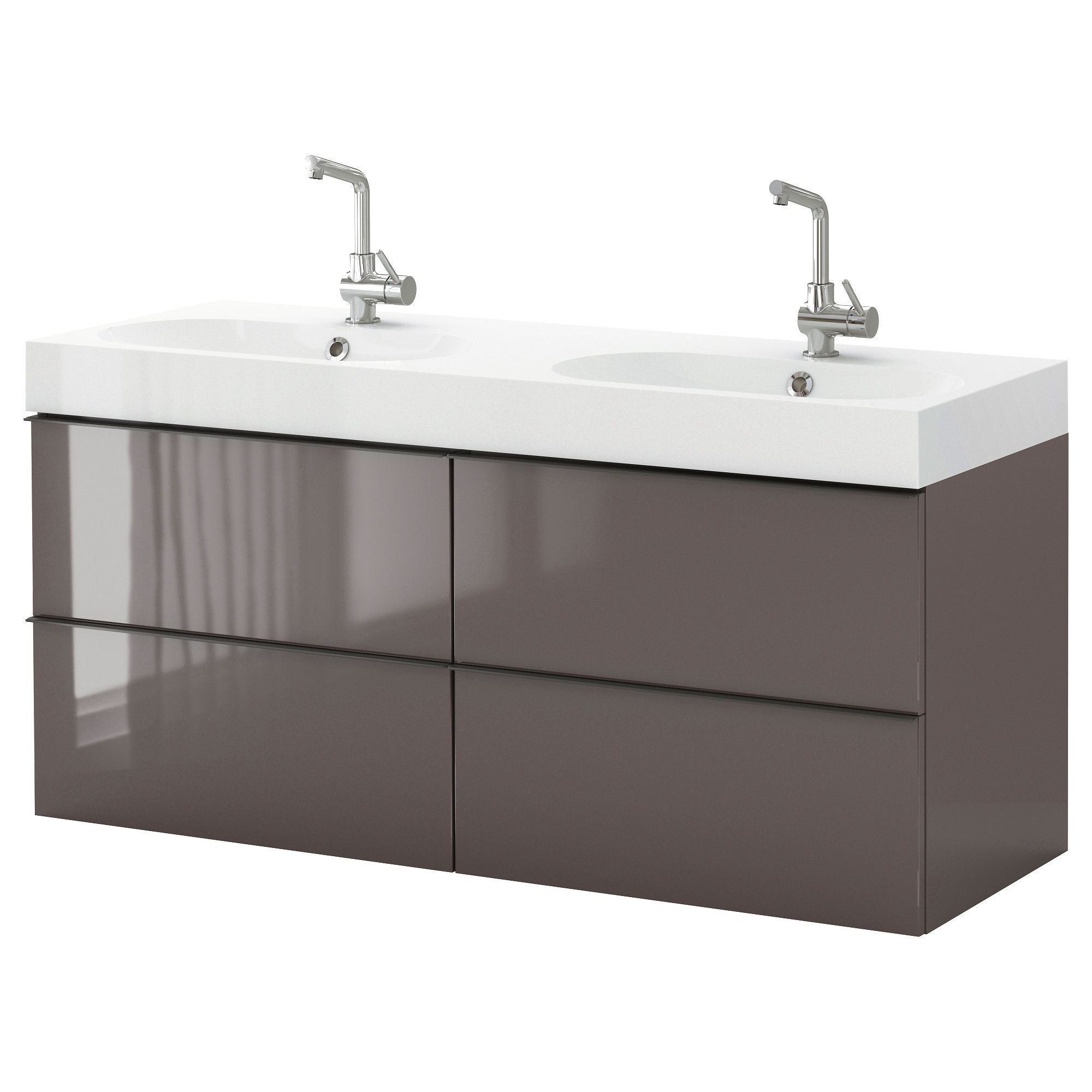 Awesome Grey Gloss Acrylic Double Sink Floating Ikea ...