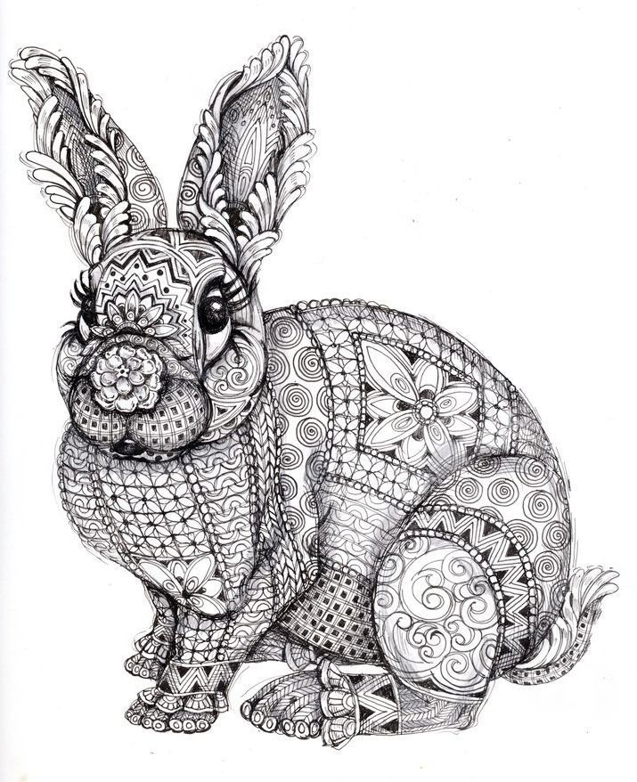 Zentangle Rabbit Coloring Page Printable Coloring Books Zentangle Animals Coloring Pages