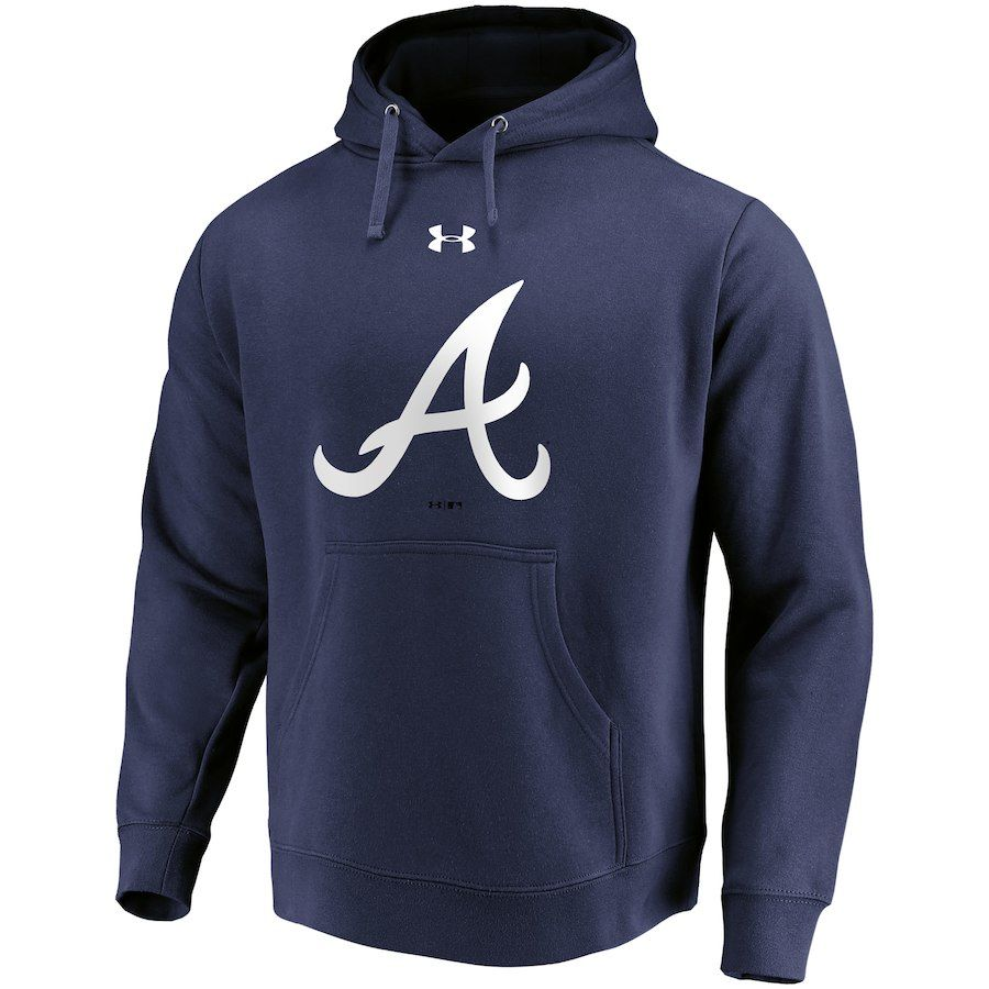 Atlanta Braves Under Armour Commitment Team Mark Performance Pullover Hoodie Navy Atlanta Braves Pullover Hoodie Hoodies