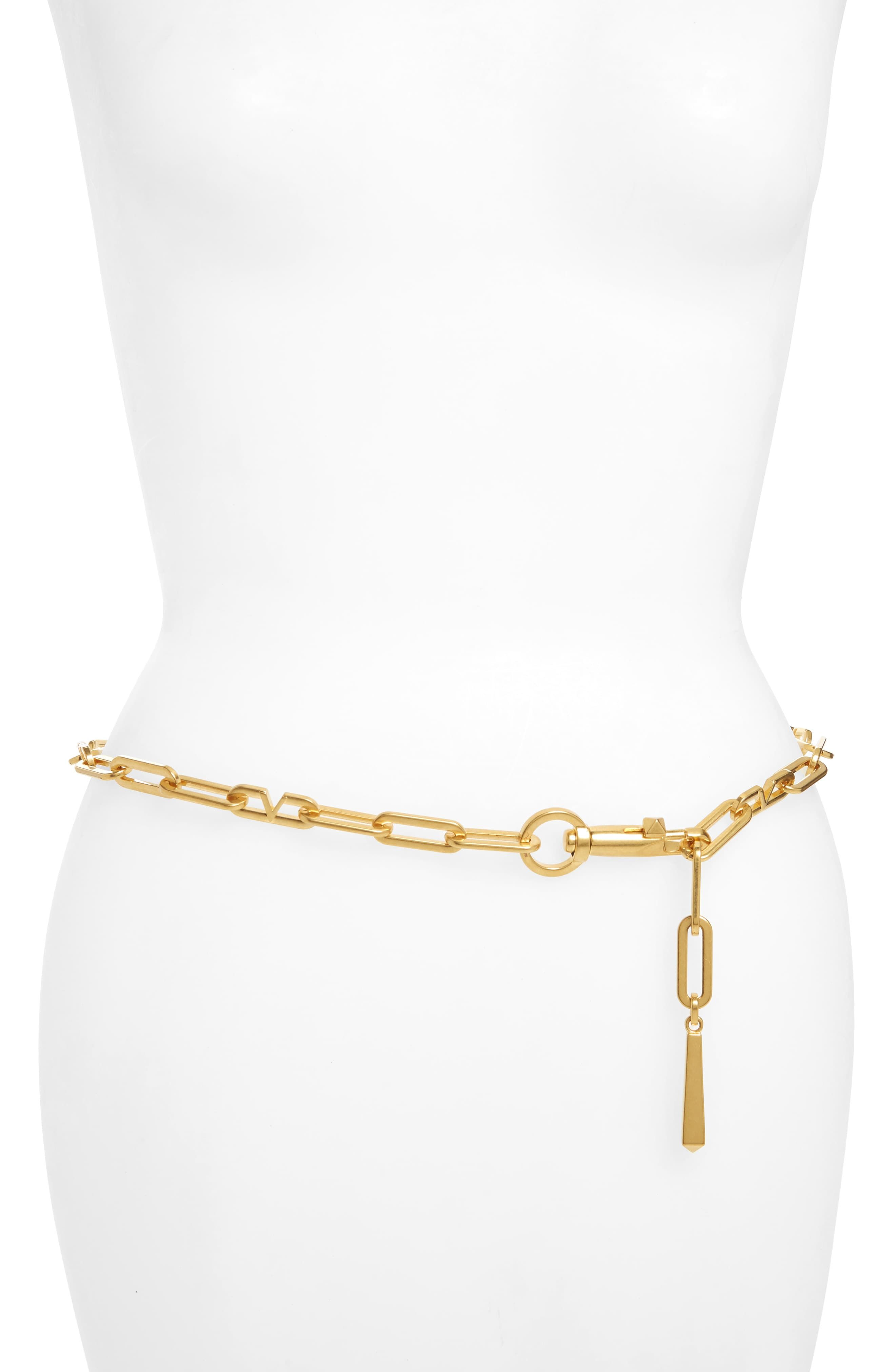 New Women Gold Metal Chain Links Fashion Belt Hip High Waist Fringes Size S M