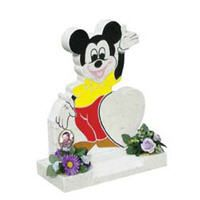 Angel's headstones in Mickey Mouse shape with vibrant coluor