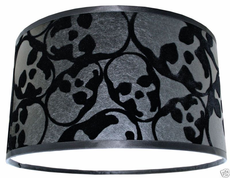 Best Barbara Hulanicki Flocked Skulls Wallpaper Lampshade Black 400 x 300