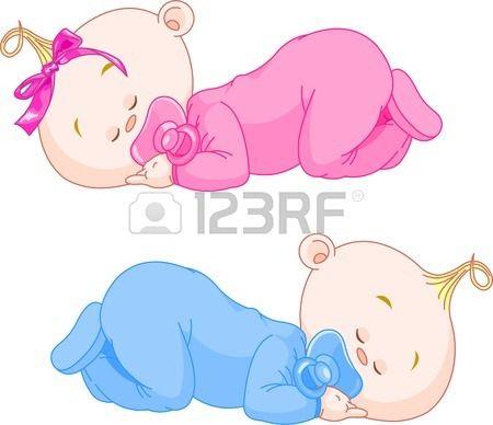 Dos Gemelos Encantadoras De Poco Dormir En Pijamas Dibujo Bebe Nina Caricatura De Bebe Dibujos De Bautizo