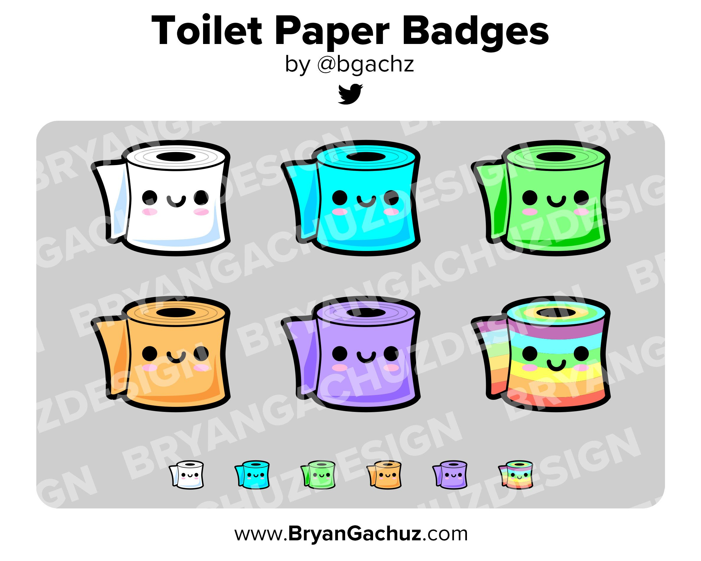 Kawaii toilet paper subscriber loyalty bit badges etsy