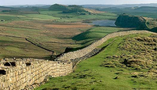 """This is Hadrian's wall. It's construction was begun in the year 122 by the order of the emperor Hadrian. The purpose of the wall was to keep the empire intact, a duty imposed on Hadrian by """"divine instruction."""" Image from: http://www.bbc.co.uk/blogs/legacy/radio4/iot-hw.jpg"""