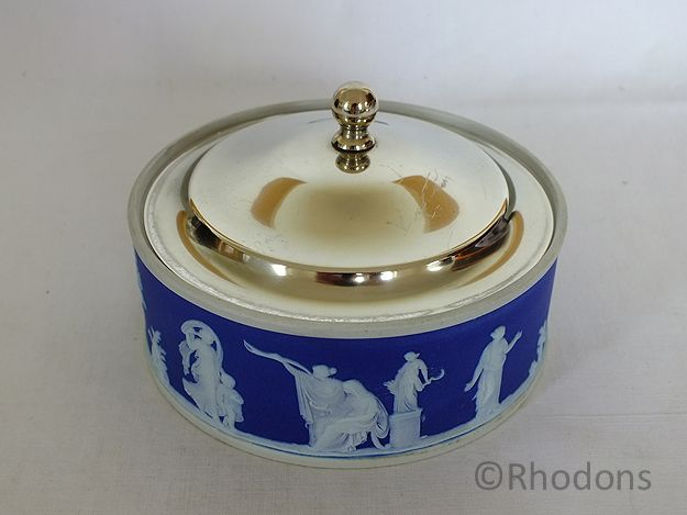 Wedgwood Cobalt Blue Jasperware Butter Dish, Silver Plated Lid, Pre 1891