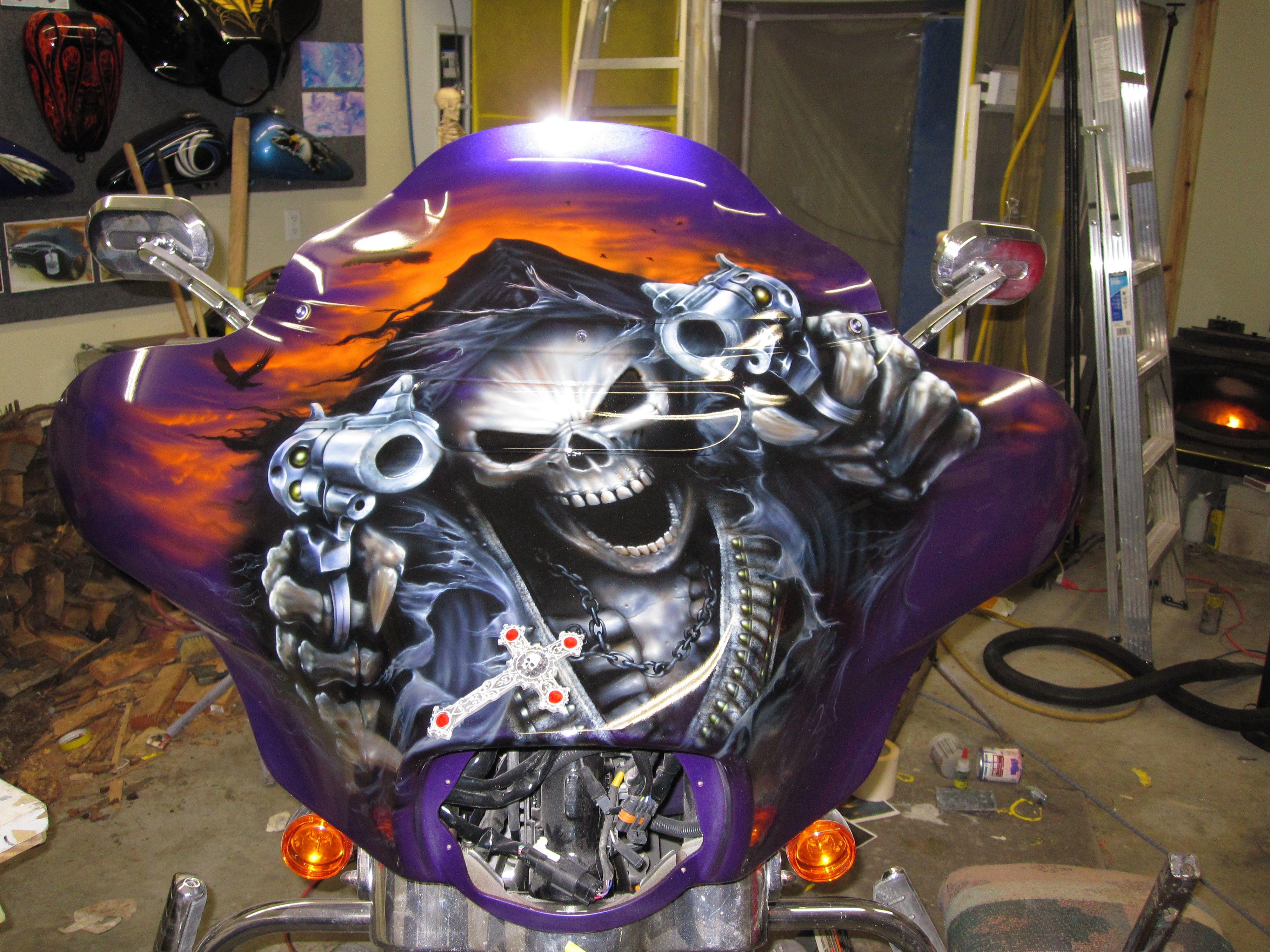 Outlaw reaper on Harley fairing