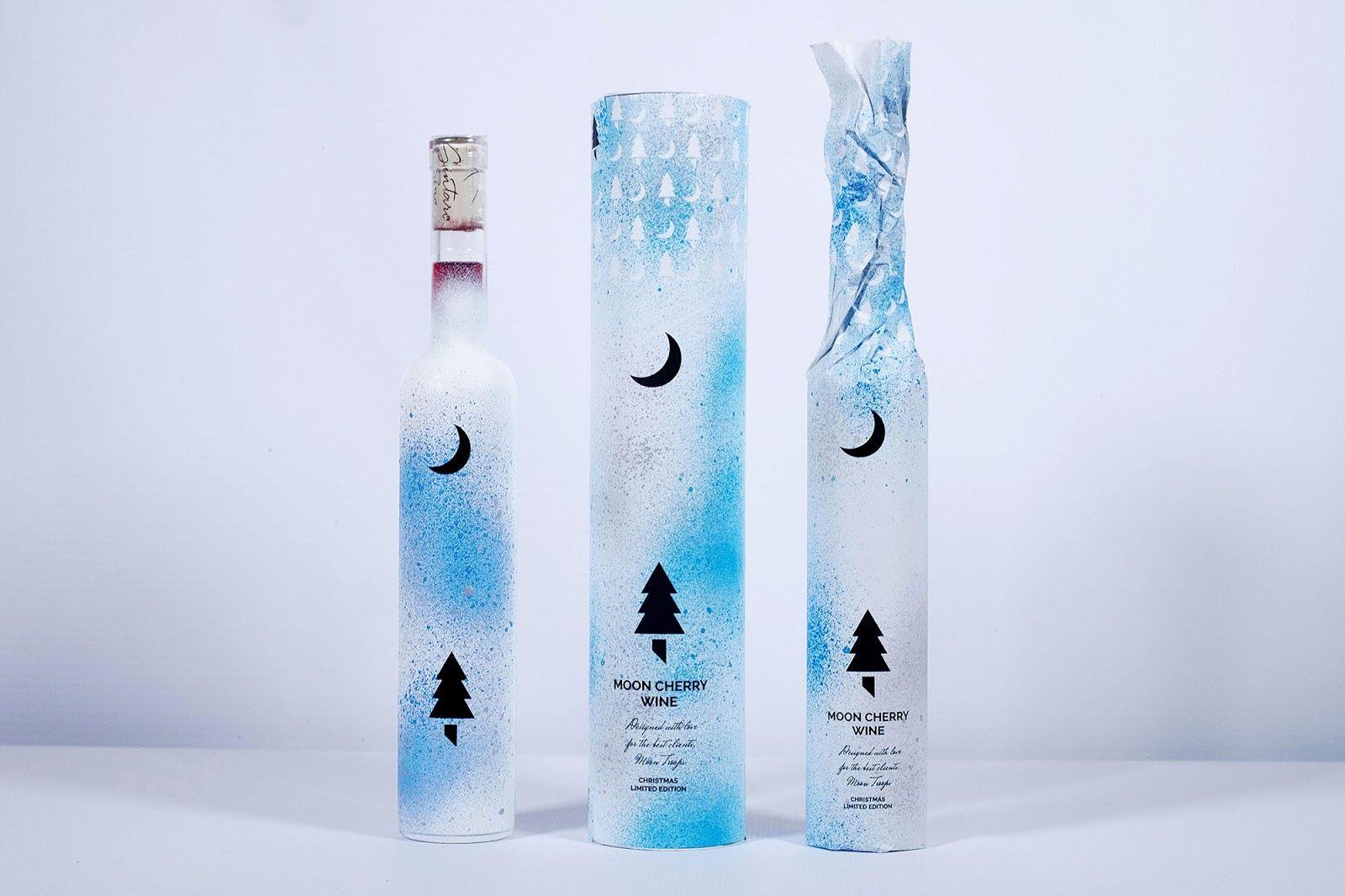 Wine Christmas Packaging.Moon Cherry Wine Christmas Handmade Limited Edition