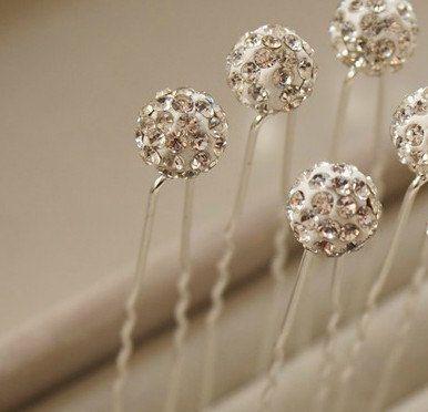 Crystal Round Sphere Wedding Kanzashi  Hair Pin by LoveLifeStyle, $2.00