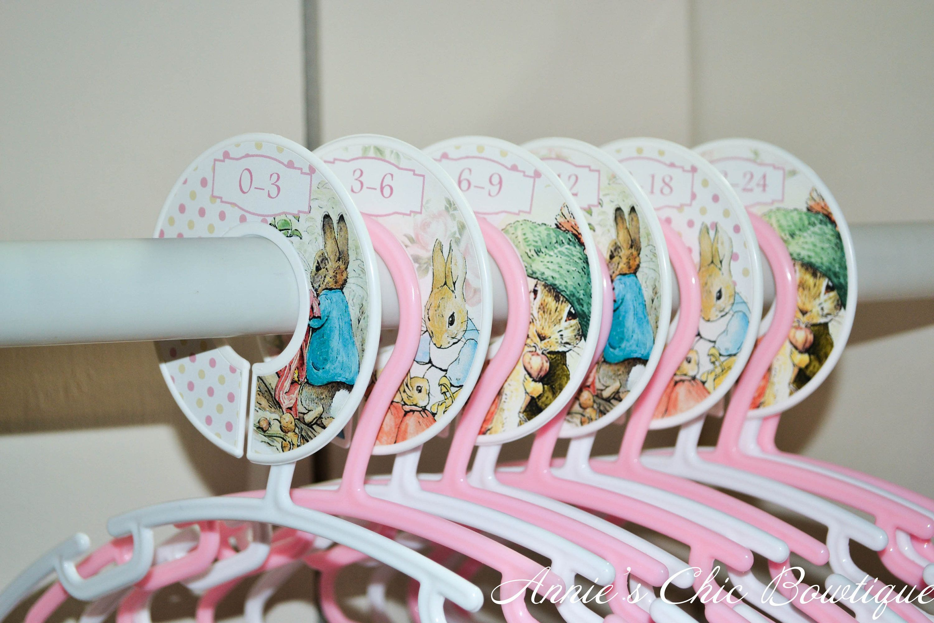 Baby Clothes Organiser// Nursery Wardrobe //Closet Dividers//Pink Peter Rabbit