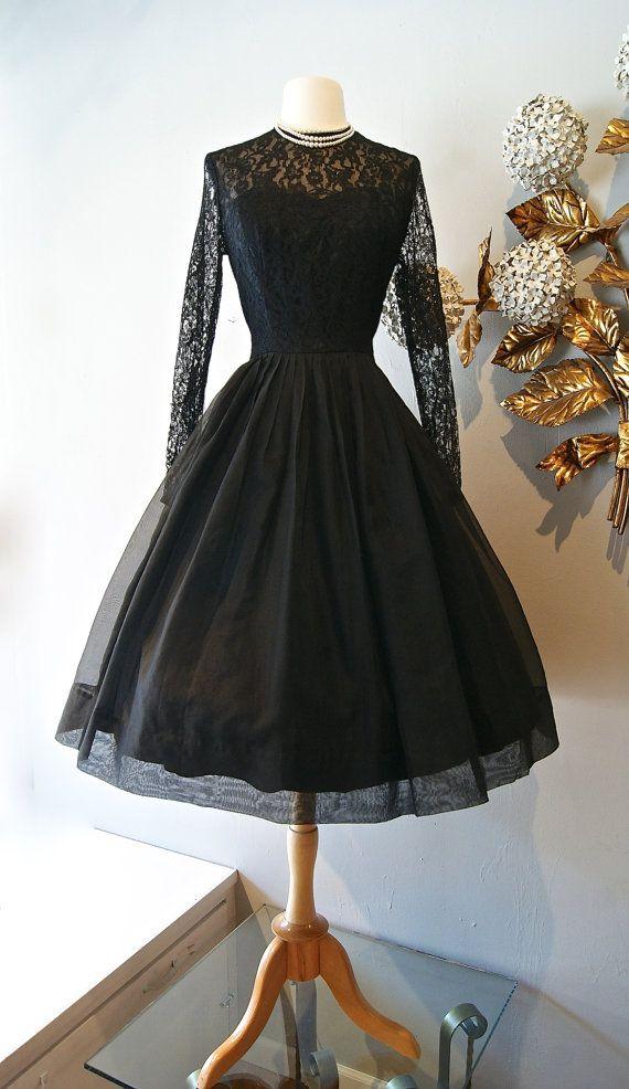 Vintage 1950s Polka Dot Dress 50s Black Silk By