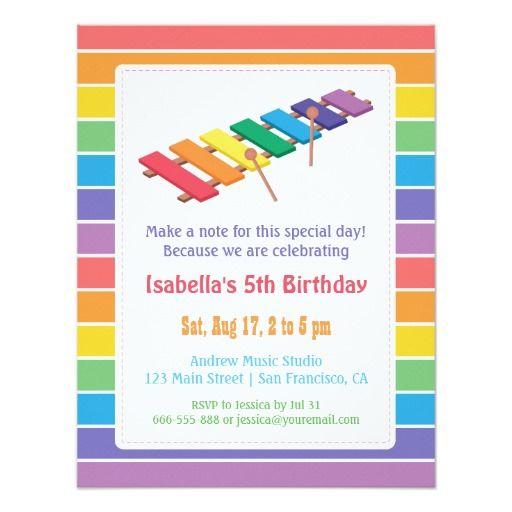 Rainbow xylophone kids music themed birthday party 425 x 55 rainbow xylophone kids music themed birthday party 425 x 55 invitation card filmwisefo