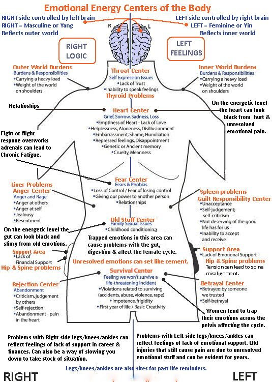 Emotional Energy Centers of The Body:   the connections between chakras and emotions.  An interesting visual diagram helping explain where in the body emotions are stored.